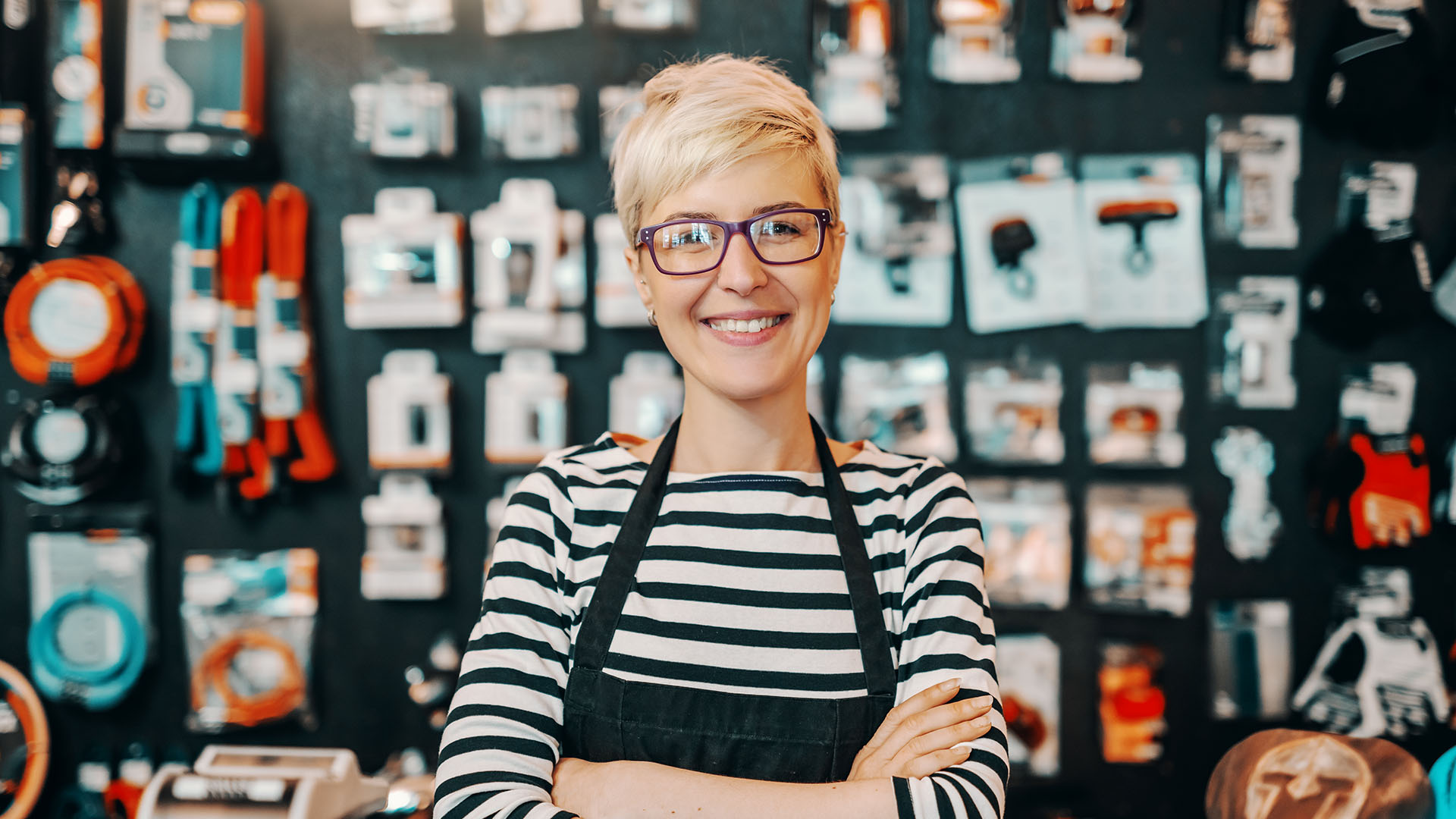 small business owner in her store