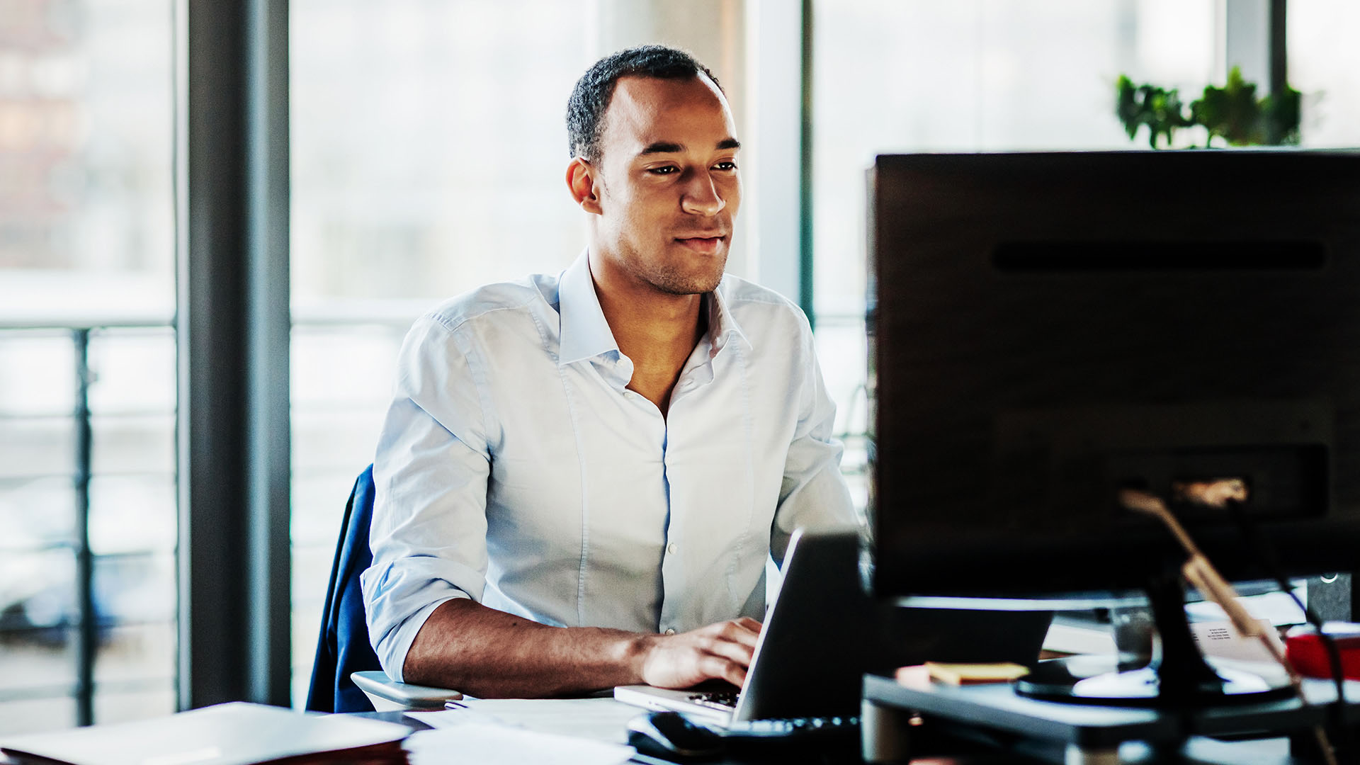 Small business owner working without interruptions