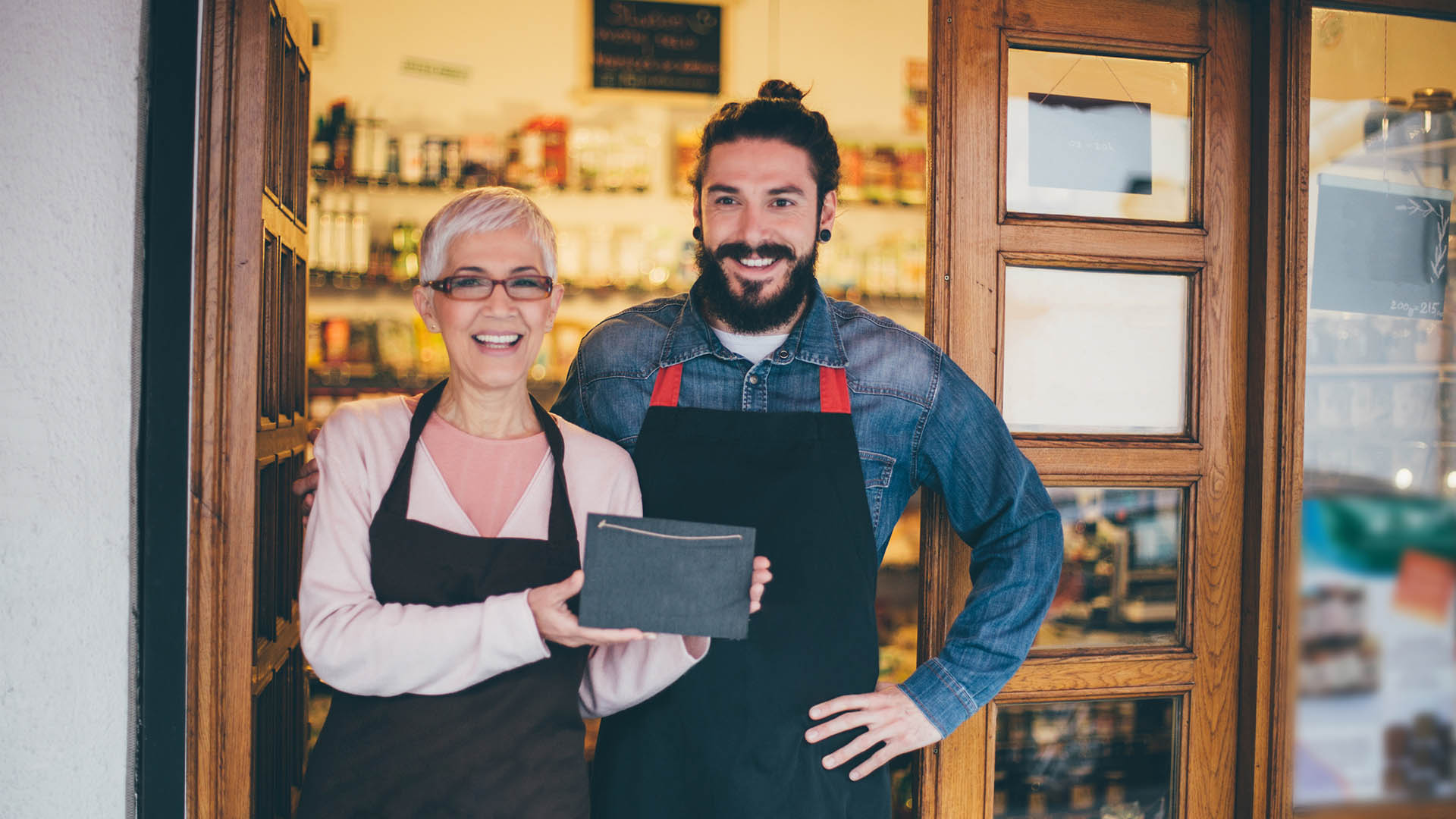 Small business owners opening the doors