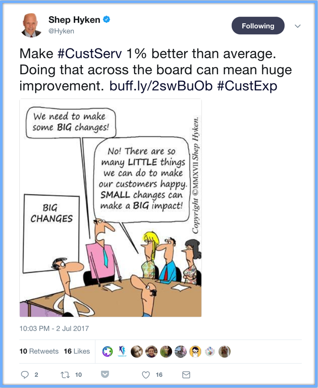 Shep Hyken Twitter Make #CustServ 1% better than average. Doing that across the board can mean huge improvement.