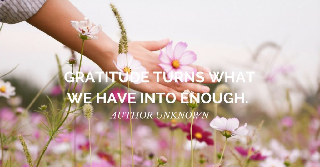 gratitude quote: Gratitude turns what we have into enough. ~Author Unknown